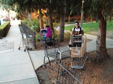 random abandoned shopping cart at apartment home entrance