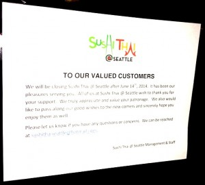 Sushi Thai Seattle closed - middle class income disappearing in world of work that changed - Delightability