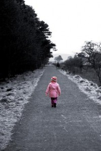 image of child in isolation walking alone - delightability blog post