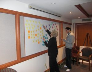 image of affinity mapping - moving sticky notes to open surface