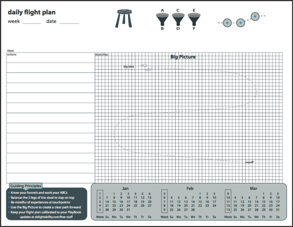 image of daily flight plan calendar to boost productivity - free PDF download at Delightability