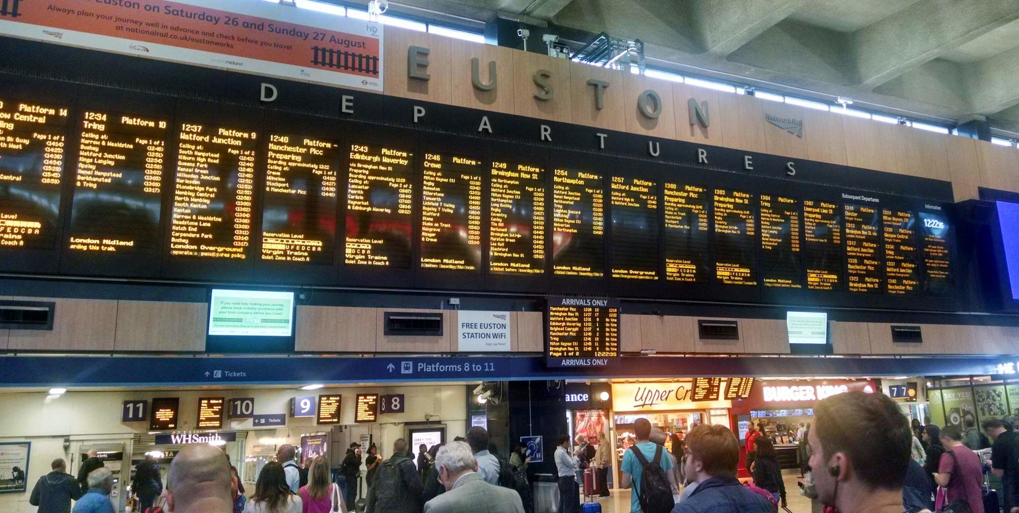 London Euston Train Departures Sign - Company Naming Journey - delightability